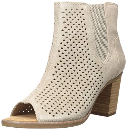 TOMS Women's Majorca Peep Toe Fashion Boot, Desert Taupe Diamond Perforated Suede Mix, 6.5 Medium US