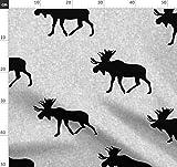 Elch, Wald, Junge, Schwarz Weiß, Groß, Kanada Stoffe -