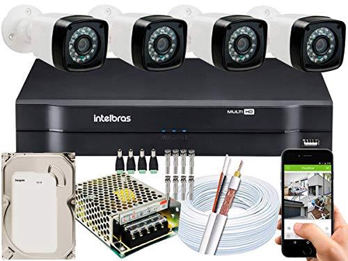 Kit DVR Intelbras 4 canais H.265 4 câmeras Full HD 20 metros