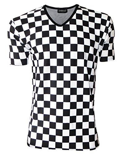 Diseño de cuadrados Kraton con relieve de tablero de ajedrez dibujos V-cuello T-de manga corta de mujer