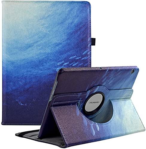 Funda compatible con Huawei MediaPad T3 10 Cover (9.6 pulgadas), rotación de 360 grados con soporte para Huawei Mediapad T3 10 (azul océano)