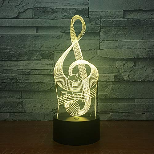 Music Note 3D Night Light, 7 Colors Changing Optical Illusion Touch Table Desk Lamp, Perfect Gifts for Kids' Home Decoration LED Lamp