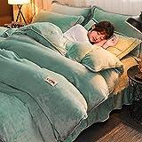 Invierno Cara Franela Cubierta De EdredóN ,Conjuntos de ropa de cama de terciopelo de invierno, juego de funda nórdica de vellón individual cama doble extra grande verde cama 150 * 200cm(3pcs)