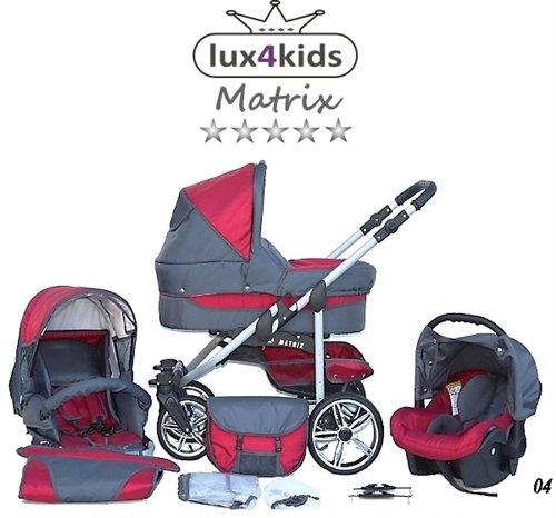 Chilly Kids Matrix 2 poussette combinée Set – hiver (chancelière, siège auto & adaptateurs, habillage pluie, moustiquaire, roues pivotantes) 04 rouge & graphite