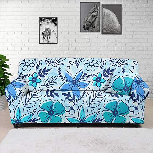 HUGS IDEA Funda de sofá súper elástica, elegante, diseño floral, azul, de dibujos animados de flores, spandex, jacquard antideslizante, suave, con correas antideslizantes debajo del sofá de 4 plazas