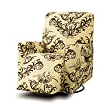 TIKAMI Recliner Slipcovers Stretch Printed Chair Covers with Side Pocket Washable Lazy Boy Furniture Protector(Coffee Print)