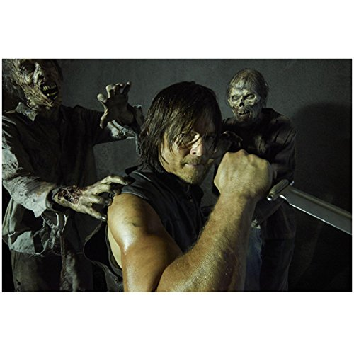 Norman Reedus in The Walking Dead as Daryl Dixon with Knife and Zombies 8 x 10 Inch Photo