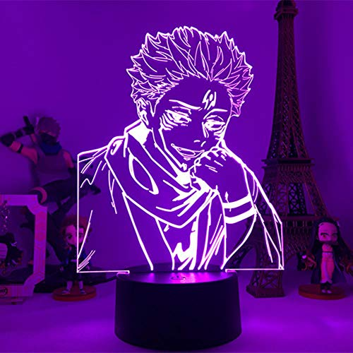 Jujutsu Kaisen Ryomen Sukuna anime 3D night light con telecomando 16 colori LED lampada da tavolo touch light regalo di Natale per bambini camera da letto decorazione luce