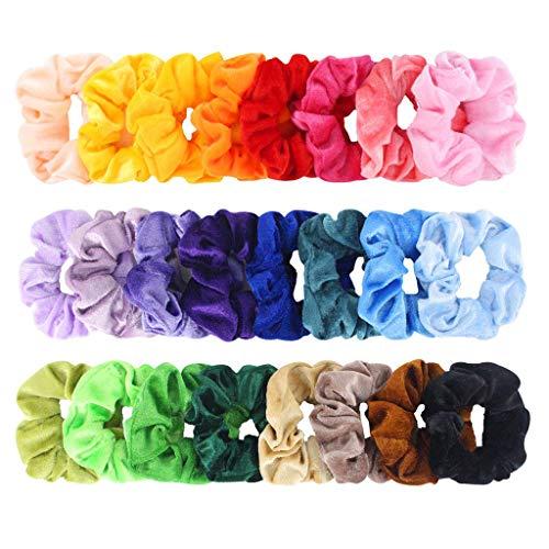 FENG 24 Stück Samt Haargummis | 24 Farben Elastische Gummibänder Haarbänder Scrunchies | Mädchen Haarschmuck | Samt elastische Haarbänder | Pferdeschwanz Haarband Haaschmuck für Mädchen Frauen (24PC)
