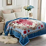 JYK Heavy Korean Faux Mink Fleece Blanket, 5 LB - 2 Ply Reversible 520GSM Silky Soft Plush Warm Blanket for Autumn Winter (Queen, Flower/Light Blue)