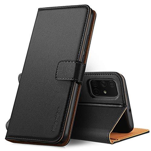 Hianjoo Hülle Kompatibel für Samsung Galaxy A71, Tasche Leder Flip Hülle Brieftasche Etui mit Kartenfach & Ständer Kompatibel für Samsung Galaxy A71, Schwarz