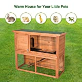 Kinsuite 44' Rabbit Hutch Bunny Cage Wood House 2 Floors Chicken Coop Hen Cage House Pet Hutch for Indoor Outdoor Garden Backyard