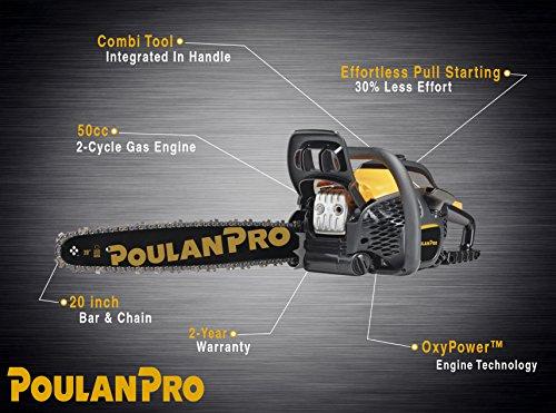 Poulan Pro 20 in. 50cc 2-Cycle Gas Chainsaw, PR5020