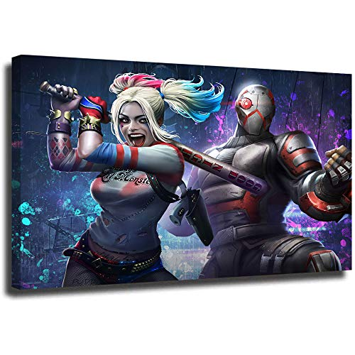 Megiri Wall Art - Cuadro decorativo para pared, diseo abstracto de Harley Quinn y Deadshot Injustice 24x36in.Large Enmarcado.