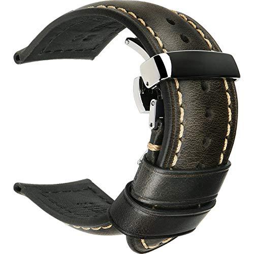 Correas de reloj de cuero 18 mm 20 mm 22 mm 24 mm Correa de reloj universal con hebilla de mariposa-Light_Black_S_26mm
