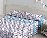 ES-TELA - Juego de sábanas estampadas IRUN color Azul (3 piezas) - Cama de 150 cm. - 50%...