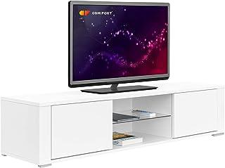 COMIFORT Mueble de TV - Mesa de Salón Moderno Puerta con Sistema Click Estante de Cristal Templado Muy Resistente Fabr...