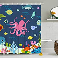 Shower Curtain Octopus Cartoon Underwater Sea Animal Fish 12 Hooks Deep Ocean Sea Turtle Shrimp Blue for Kids Boys Girls Fabric 72 x 72 Inch Bathroom Decor