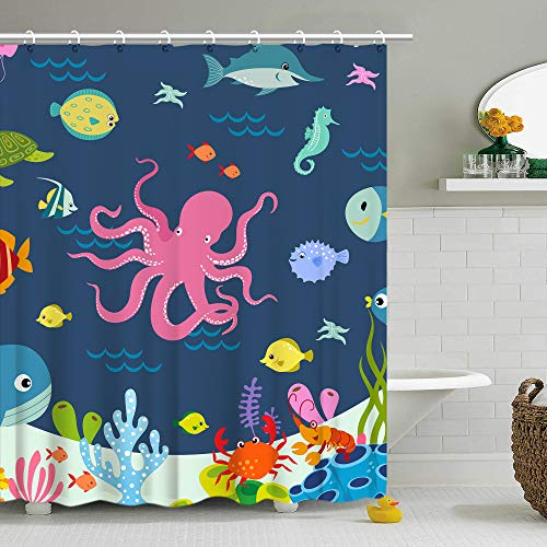 Stacy Fay Shower Curtain Kids Octopus Cartoon Underwater Sea Animal Fish 12 Hooks Deep Ocean Sea Turtle Shrimp Blue for Boys Girls Fabric 72 x 72 Inch Bathroom Decor