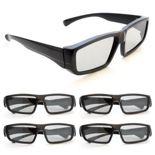 Ganzoo - Gafas 3D pasivas, polarizadas circulares para televisores 3D, juegos PC o RealD, montura negra