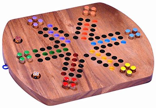Logoplay Holzspiele Ludo für 6 Spieler - Würfelspiel - Gesellschaftsspiel - Familienspiel aus Holz mit klappbarem Spielbrett