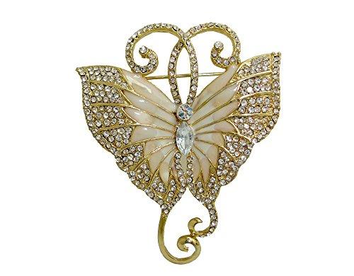 TTjewelry Vintage Schmetterling Insekten Jugendstil Brosche Anstecknadel klar österreichischer Kristall