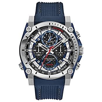 Bulova Precisionist Chronograph Mens Watch Stainless Steel with Blue Polyurethane Strap Two-Tone  Model  98B315