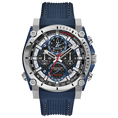 Bulova Precisionist Chronograph Mens Watch, Stainless Steel with Blue Polyurethane Strap, Two-Tone (Model: 98B315)