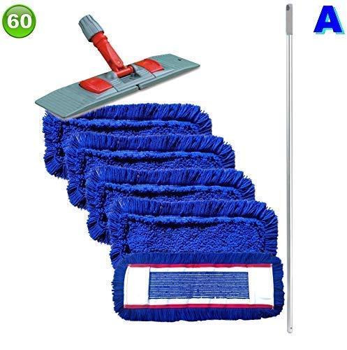 maxxi4you Set mit 5 Wischmopp Wischmop Acryl Industriequalität waschbar in 40 50 60 80 cm (60 cm)