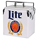 Koolatron Miller Lite Ice Chest with Bottle Opener - Mini Cooler with (14 Quarts/13 Liters) 18 Can Capacity and Locking Handle, White (MLVIC-13)
