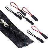 Xiuyer 100pcs Extensión Cremallera Nylon Zipper Pulls Reemplazo Etiqueta Repuesto Cordón Tiradores Cremallera Epuesto Para Chaquetas Mochilas Maletas Viaje Tiendas Campaña Maletas Carrito Negro Rojo