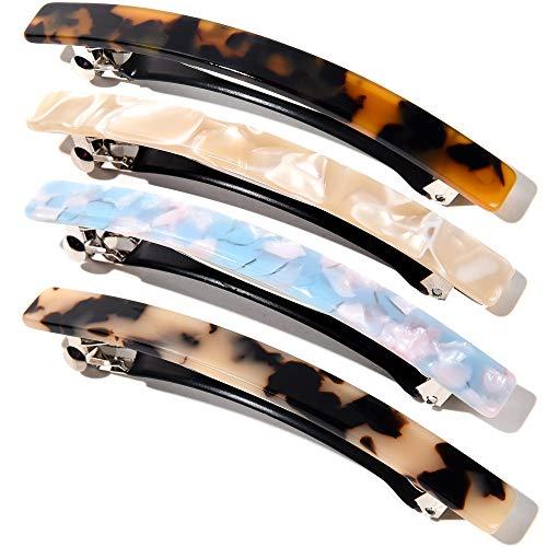 10 Cm Lange Dünne Haarspange Rechteckige Automatische Haarspangen Groß Zelluloid Leopard Haar Spange Haarclips Für Damen Mädchen Dicke Mittleres Haar