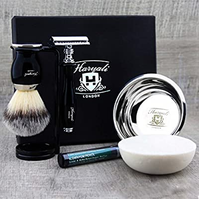 Mens 6Pc Shaving Kit with Double Edge Safety Razor, Synthetic Badger Hair Shaving Brush, Bowl, Stand, Soap and Alum