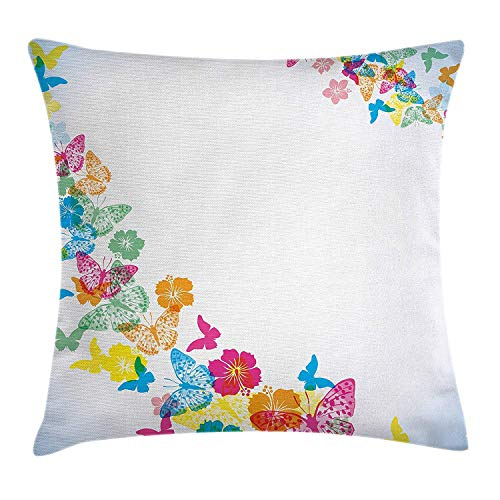 Fantastic Festive Fun Borders with Colorful Butterfly Silhouettes and Florets, Square Accent Pillow Case, 18 X 18 inches, Multicolor