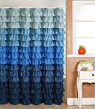 spring Home Blue Rain Ruffled Shower Curtain