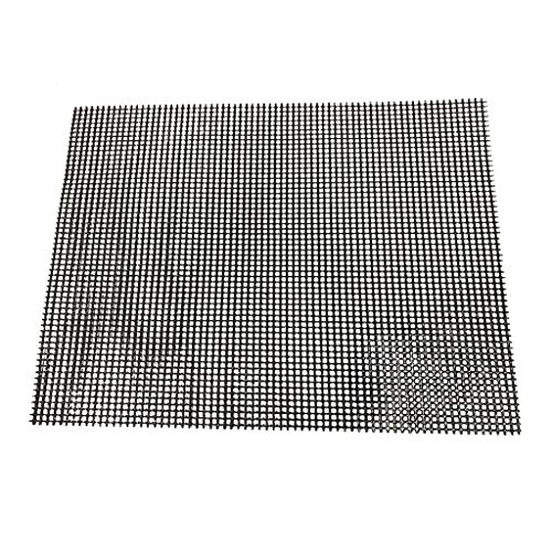 Read About BBQ Grill Mesh Mat Set - Non Stick Barbecue Grill Sheet Liners PTFE Grilling Mats Nonstic...