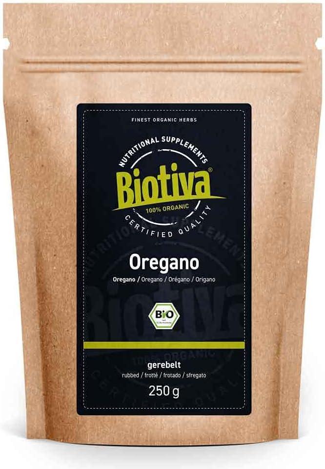 Orégano orgánico rallado 250 g - Origanum vulgare - especia de cultivo orgánico - llenada y verificada en Alemania (DE-ÖKO-005)