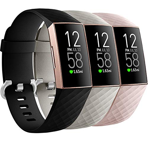 Getino 3 Pack Bands Compatible with Fitbit Charge 4 Bands/Fitbit Charge 3 Bands/Charge 3 SE, Soft, Flexible and Waterproof TPU Sport Replacement Strap Wristbands for Women Men Small Black/Pink/Gray