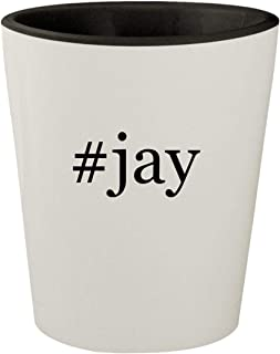 #jay - White Outer & Black Inner Hashtag Ceramic 1.5oz Shot Glass