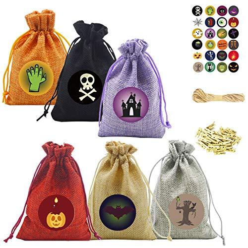 Bolsas de regalo de Navidad surtidas para suministros del hogar, bolsa de tela, manualidades, regalo de fiesta, reutilizable con cordón, juego de 24 piezas de arpillera