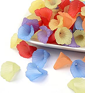 Multicolor Assorted Ruffled Chunky Acrylic Frosted Lily Flower Beads for Jewelry Making (20mm)