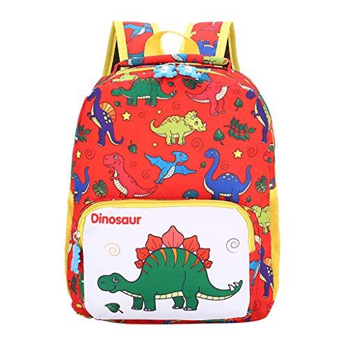 YWLINK Mochila Escolar Ligero Estudiante NiñOs Y NiñAs NiñOs Dibujos Animados Dinosaurio Animal Mochila Escolar Viajes Cremallera Bolsa Ocio Fiesta Regalo(rojo)