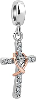 Cross Charm with God All Things are Possible Religious Dangle Bead Fits European Bracelets
