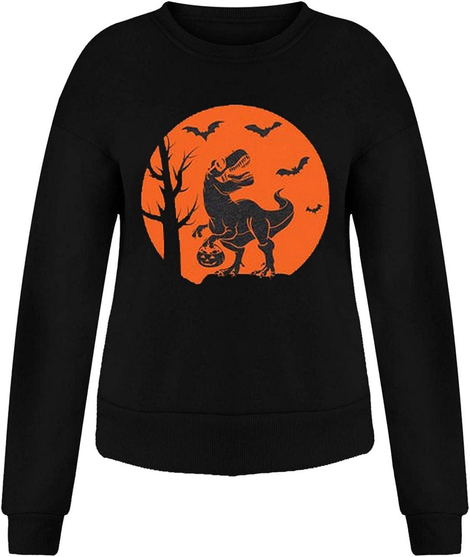 Jaqqra Halloween Shirts for Women Oversized Long Sleeve Sweatshirts Crewneck Bats Print Vintage Gothic Pullover Tops Shirts