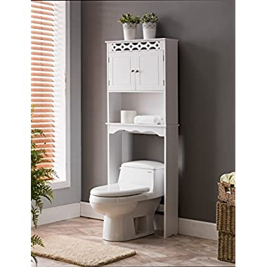 Kings Brand Furniture Over The Toilet Bathroom Space Saver Storage Cabinet, White
