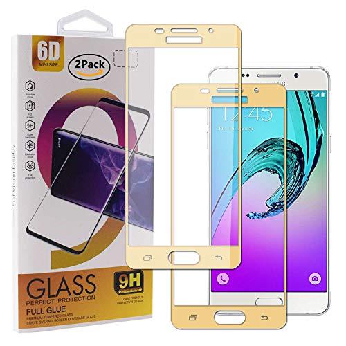 Guran [2 Paquete Protector de Pantalla para Samsung Galaxy A5 2016 A510 Smartphone Cobertura Completa Protección 9H Dureza Alta Definicion Vidrio Templado Película - Dorado