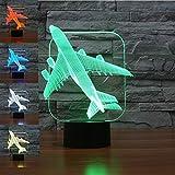 3D Illusion Avión Lámpara luces de la noche ajustable 7 colores LED Creative Interruptor táctil estéreo visual atmósfera mesa regalo para Navidad
