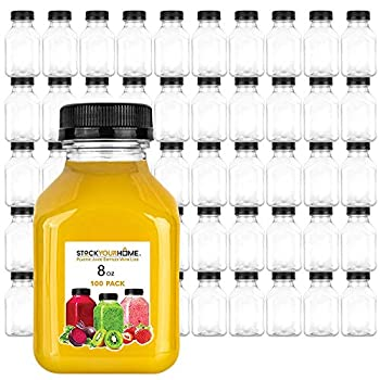 Stock Your Home Plastic Juice Bottles 8 Oz with Lids Juice Drink Containers with Caps for Juicing Smoothie Drinking Cold Beverages 8 Oz Bottles with Caps 100 Count