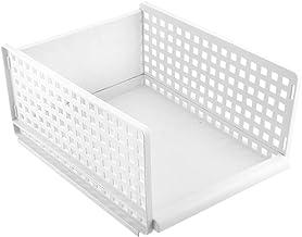 Plastic Storage Baskets, Cloth Storage Organizer Foldable Drawer Type Cloth Wardrobe Rack Partition Board Holders for Bathroom, Kitchen(15.4 * 11.7 * 6.7 inch-Plastic)