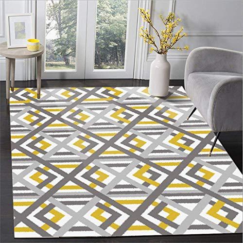 KCMDA Carpet Pad Carpet Non-Slip Square Carpet Nordic-Style Geometric Yellow Cross-Line Pattern Carpet Living Room Sofa Table Carpet Decoration Carpet Non-Slip Floor Mat /80X160 Cm (2.6X5.2 Ft)